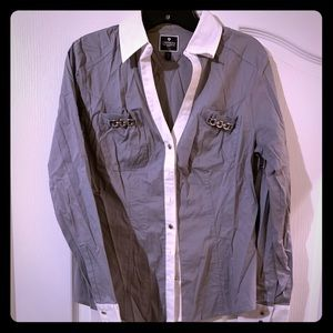 Light gray with silver accents shirt